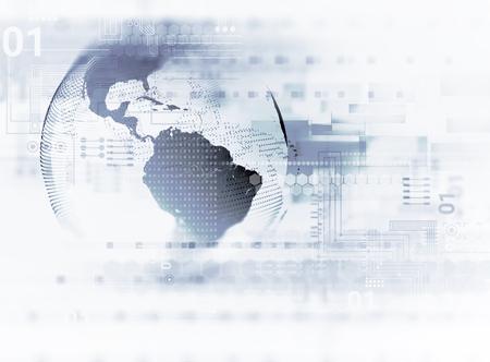 추상 흰색 디지털 기술 배경, 나타내는 큰 데이터 및 디지털 통신 기술 개념