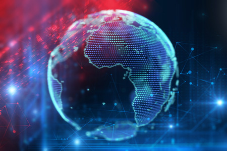 3d rendering of  earth on hi-tech futuristic technology abstract background ,concept of  modern data science. Stock fotó