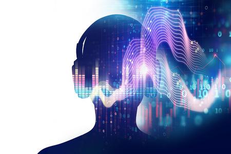3D Abbildung der menschlichen mit Kopfhörer auf Audio Wellenform abstrakte Technologie Hintergrund, stellen digitale Equalizer-Technologie
