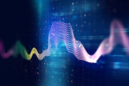 abstract waves: colorful Audio waveform abstract technology background ,represent digital equalizer technology Stock Photo