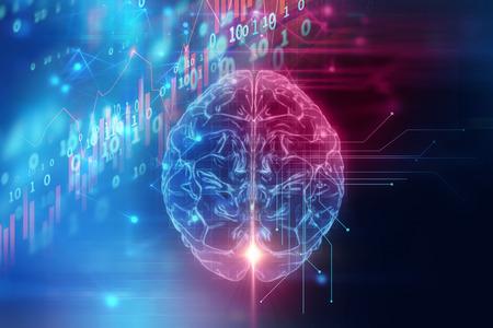 La representación 3D del cerebro humano en el fondo de la tecnología representa la inteligencia artificial y el concepto del espacio cibernético