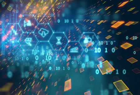 추상 금융 기술 배경에 fintech 아이콘 대표 Blockchain 및 Fintech 투자 금융 인터넷 기술 개념.