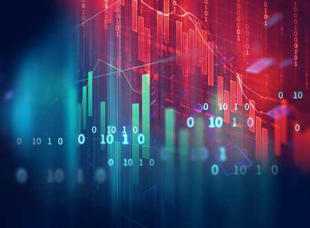 numbers abstract: financial graph on technology abstract background represent financial crisis,financial meltdown Stock Photo