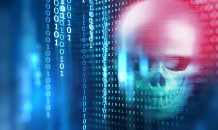 기술 배경에 두개골의 3d 렌더링 대표 인터넷 보안 및 사이버 범죄 스톡 콘텐츠