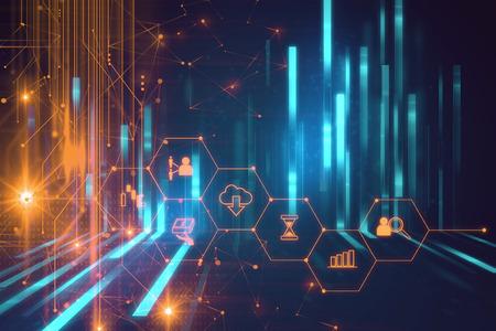 Fintech-Symbol auf abstrakten Hintergrund Finanztechnologie repräsentieren Blockchain und Fintech Investment Financial Internet Technology Concept. Standard-Bild