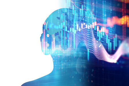 3d illustration of human with headphone on Audio waveform abstract technology background  ,represent digital equalizer technology Archivio Fotografico