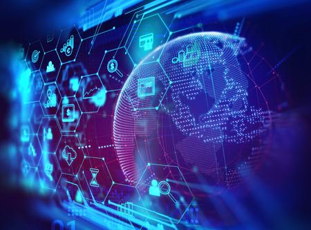 icono fintech sobre fondo de tecnología financiera abstracto representan blockchain y gestión de datos de negocios concepto de gestión financiera . Foto de archivo