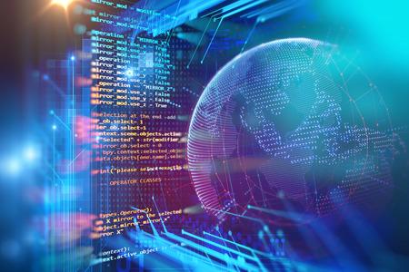código de programación de tecnología abstracta del desarrollador de software y la escritura por ordenador Foto de archivo