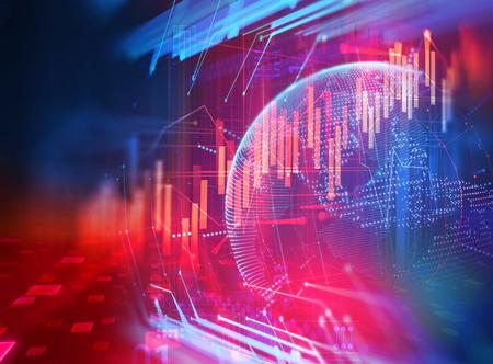 financiële grafiek op technologie abstracte achtergrond vertegenwoordigen financiële crisis, financiële kernsmelting Stockfoto