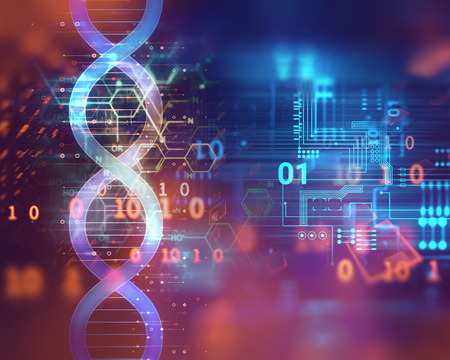 cromosoma: dna molecules on abstract technology background , concept of biochemistriy and genetic theory. Foto de archivo