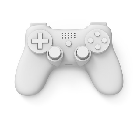 3d rendering of video game controller on white background with clipping path.