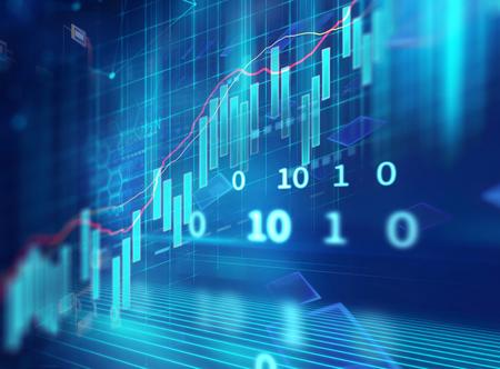 financial stock market graph on technology abstract background Reklamní fotografie