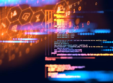 ソフトウェア開発者、コンピューターのスクリプトのプログラミング コードの抽象的な技術の背景