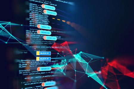 ビジュアルデータの複雑さを伴う抽象的な未来のインフォグラフィック、ビッグデータコンセプト、ノードベースプログラミングを表現
