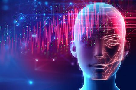 Illustration 3d des menschlichen Roboterkopfes mit grafischem Elementgesicht stellen künstliche Intelligenz und Maschinenlernkonzept dar Standard-Bild
