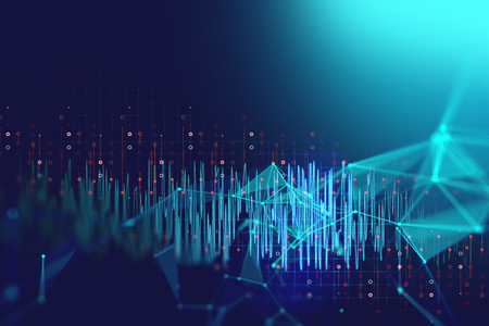 カラフルなオーディオ波形抽象的な技術背景、表すデジタル等化技術