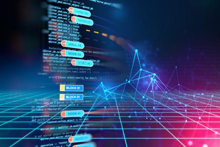 Abstract Futuristic Infografik mit Visual Datenkomplexität, Big Data-Konzept darstellen, Knoten Bankprogrammierung