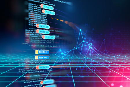 Abstract  Futuristic infographic with Visual data complexity , represent Big data concept, node base programming   Stock Photo