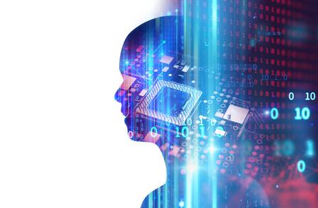 Schattenbild des virtuellen Menschen auf abstrakter Illustration der Technologie 3d, stellen künstliche Technologie dar.