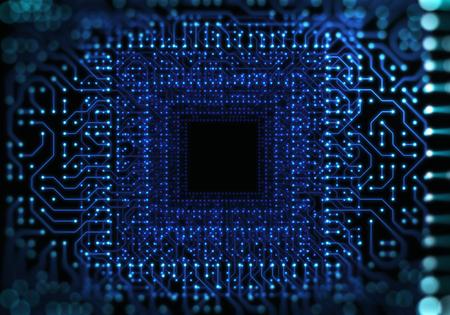 futuristic blue circuit pattern technology background illustration Stock Photo