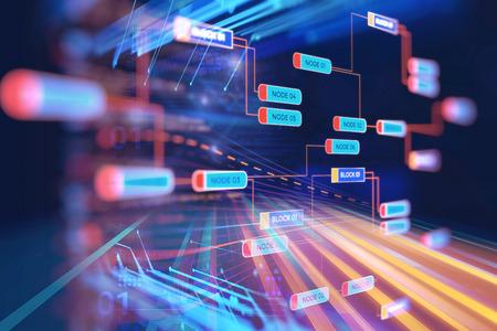 Resumo Infográfico futurista com complexidade visual de dados, representa o conceito de Big Data, a programação de base de nós