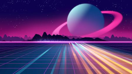 레트로 미래형 배경 1980 년대 스타일 3d 일러스트 레이 션. 사이버 세계에서 디지털 풍경입니다. 음악 앨범 표지로 사용하기. 스톡 콘텐츠