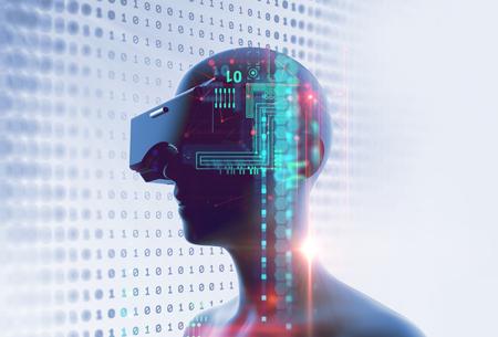 3D-weergave van virtuele mens in VR-headset op futuristische technologie en programmeertalen achtergrond vertegenwoordigen virtual reality-technologie.