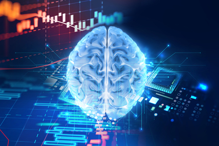 Conceptual background of Artificial intelligence robot trading concept, human brain  on financial technology  element ,3d illustration Stock Photo
