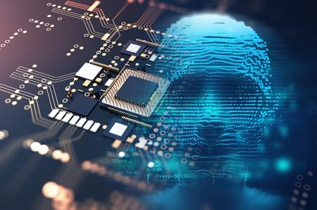digital human skull and cpu represent  danger of cyber criminal,hacker and proccessor memory leak 3dillustration