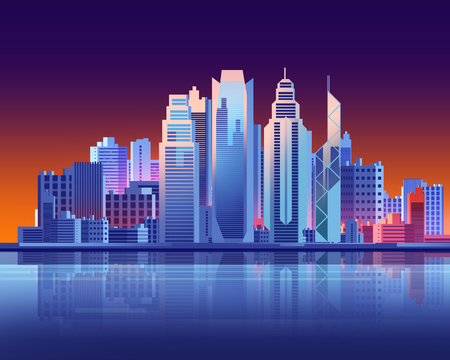 Hong Kong skyscraper city in  flat graphic style illustration. Digital landscape in a cyber world. For use as travel illustration 스톡 콘텐츠