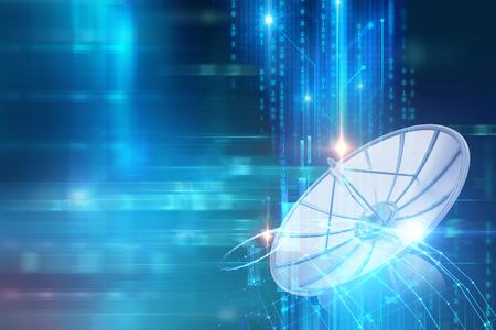 Illustrazione 3d dei dati della trasmissione del riflettore parabolico sulla priorità bassa astratta di tecnologia