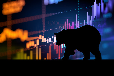 silhouette form of bear on financial stock market graph represent stock market crash or down trend investment Imagens