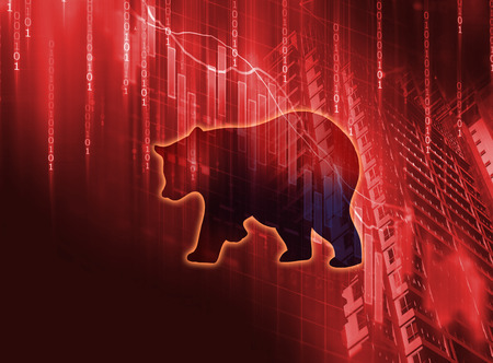 silhouette form of bear on financial stock market graph represent stock market crash or down trend investment Stock Photo
