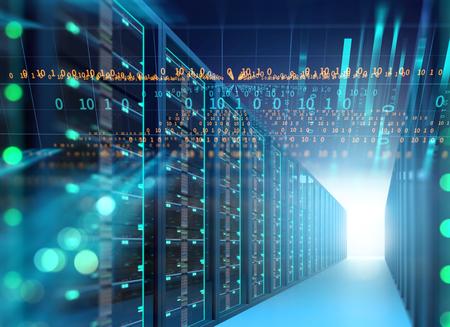 Illustrazione 3D della stanza del server nel centro dati in pieno dell'attrezzatura di telecomunicazione, concetto di grande archiviazione di dati e tecnologia di computazione della nuvola.