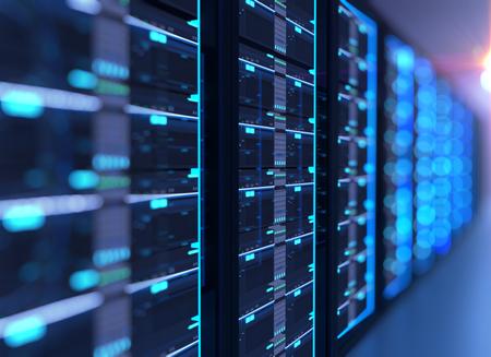 Illustration 3D de la salle des serveurs dans un centre de données rempli d'équipements de télécommunications, concept de stockage de données volumineuses et de technologie de cloud computing. Banque d'images