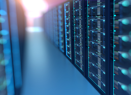3D illustration of server room in data center full of telecommunication equipment,concept of big data storage and  cloud computing technology. Standard-Bild
