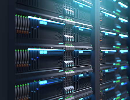 3D illustration of super computer server racks in datacenter,concept of big data storage and  cloud computing technology.
