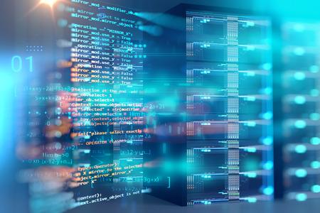 salle de serveurs illustration 3d avec élément de conception de données de programmation., concept de stockage de données volumineuses et technologie de cloud computing. Banque d'images