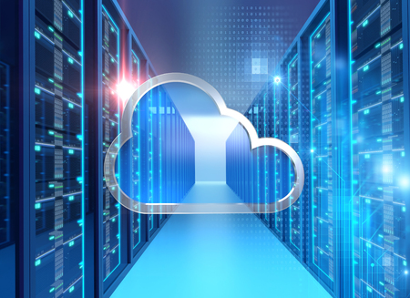 server room 3d illustration with cloud icon  design element.concept of big data storage and  cloud computing technology.   Stock Photo