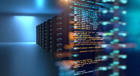 Sala de servidores Ilustración 3d con elemento de diseño de datos de programación base de nodo. Concepto de almacenamiento de datos grandes y tecnología de computación en la nube. Foto de archivo
