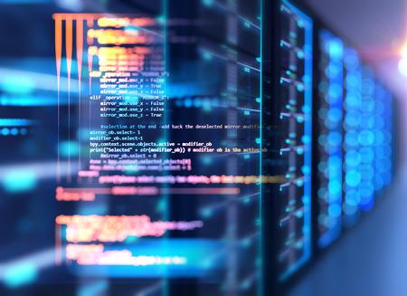 Sala de servidores Ilustración 3d con elemento de diseño de datos de programación base de nodo. Concepto de almacenamiento de datos grandes y tecnología de computación en la nube.