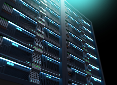 3D illustration of super computer server racks in datacenter,concept of big data storage and   mining cryptocurrency.
