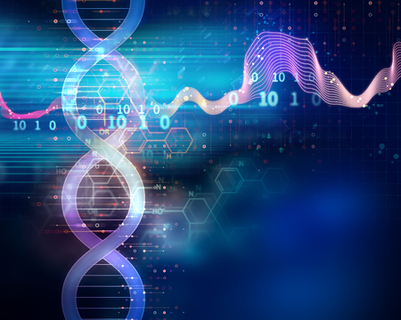 dna molecules on abstract technology background , concept of biochemistriy and genetic theory. Stock fotó