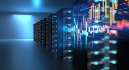 3D ilustracja serwerowni w centrum danych pełnym sprzętu telekomunikacyjnego, koncepcji przechowywania dużych zbiorów danych i technologii przetwarzania w chmurze.
