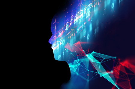 double exposure image of financial graph and virtual human 3dillustration  on business technology  background represent algorithmic trading process.  Stock Photo