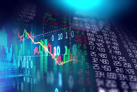 Finanzbörsediagrammillustration, Konzept der Unternehmensinvestition und zukünftiger Handel auf Lager. Standard-Bild