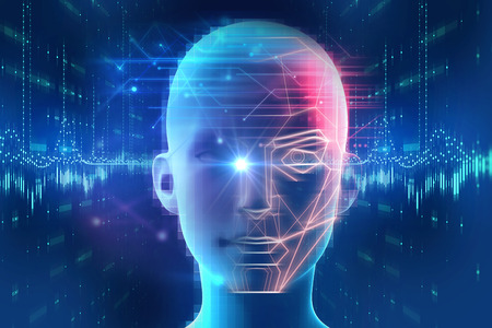 Face detection and recognition of digital human 3d illustration.Concept of Computer vision and artificial intelligence and biometric facial identification. Banque d'images