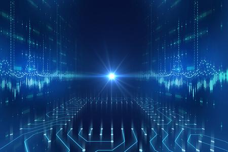 futurystyczny niebieski obwód wzór abstrakcyjne tło ilustracja, koncepcja cyberprzestrzeni i AI.
