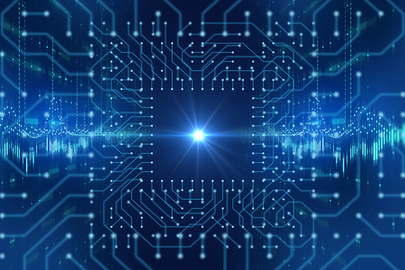 futuristic blue circuit pattern abstract background illustration,concept of cyber space and ai. Banco de Imagens
