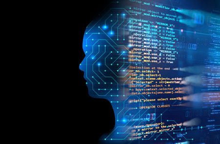 double exposure image of virtual human 3dillustration on blue circuit board background represent artificial  intelligence AI technology  Stock Photo